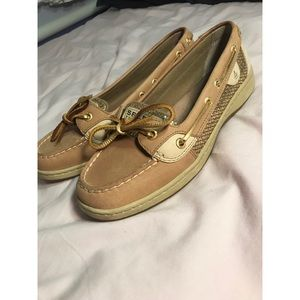 Women's Sperry Gold Sequin Shoes Flats Loafers